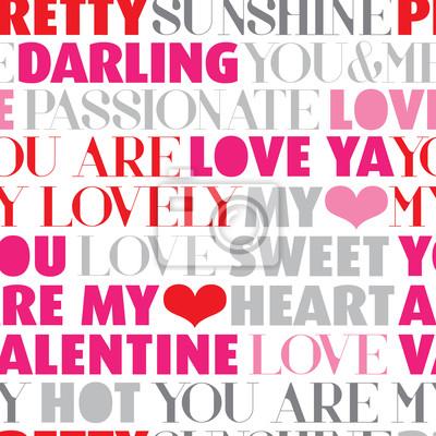 Бесшовные Валентина любовь типография вектор фон