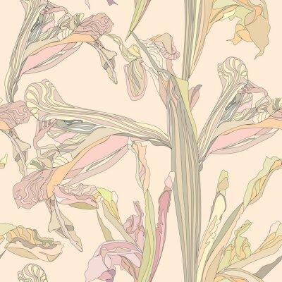 Картина бесшовные фон вектор нежные цветы ириса на бежевом фоне