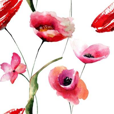 Картина Бесшовные обои с маками цветами