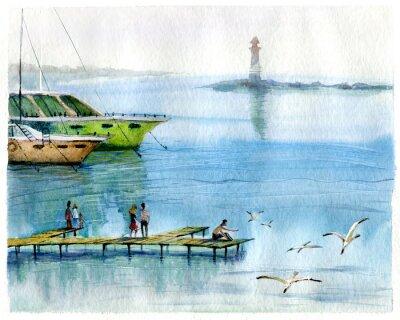Картина Морской пейзаж, яхты, акварель