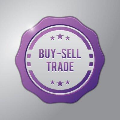 Продаем фиолетовый знак: Купить - Продать - Торговля