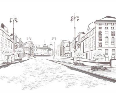 Картина Серия видом на улицу в старом городе, эскиз