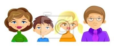 сет персонажей членов семьи включает маму, папу, дочь, сын