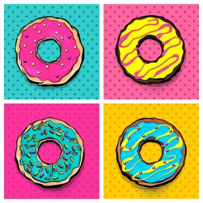 Картина Установите пончик сладкие блюда, пончик мультяшный поп-арт стиль. Вектор цветные иллюстрации полутоновых шаблон. Урожай ретро дизайн. Коллекция комиксов хлебобулочных глазурованная труба постер.