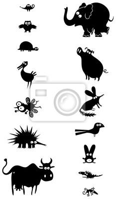 Набор черных силуэтов животных