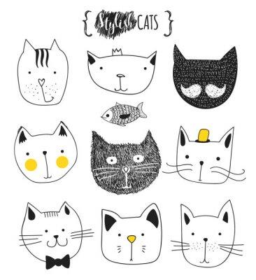 Картина Набор милые каракули кошек. Эскиз кошки. Эскиз Cat. Cat ручной работы. Версия для печати футболки для кошки. Печать для одежды. Doodle Дети животных. Стильные морда кошки. Изолированные кошка. Pet
