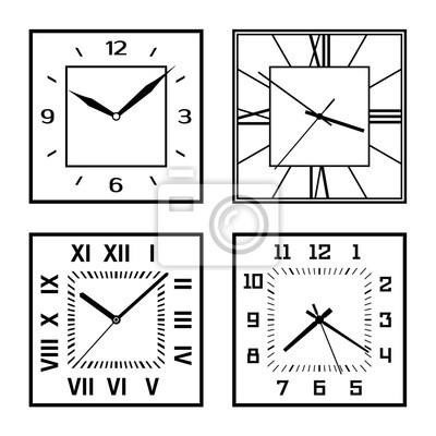 Set of different clock faces. Editable Clock.