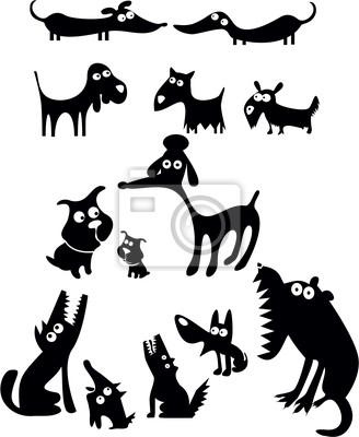 Набор собак силуэты