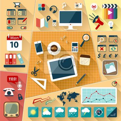 Набор плоским векторные иллюстрации Веб иконки и логотипы