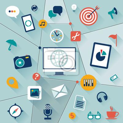Набор плоским векторные иллюстрации веб-иконки и логотипы сайте