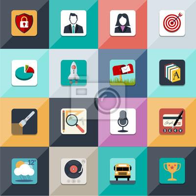 Набор плоским векторных веб-иконы в стильных цветах