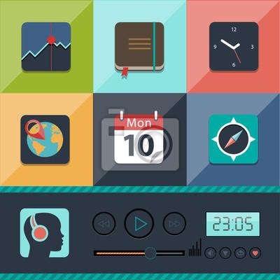 Набор плоских веб векторных иконок в стильных цветах