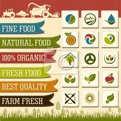 Набор свежих органических натуральных пищевых Ярлыки