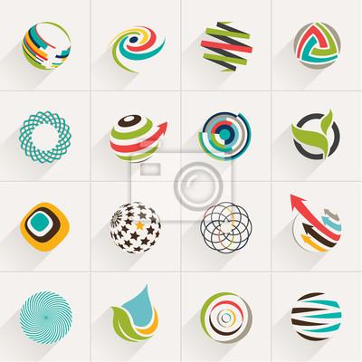 Набор шаровых веб-иконки и векторных логотипов в стильных цветах