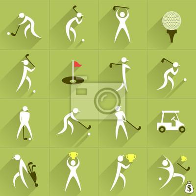 Набор гольф-клуб векторных логотипов и спортивных людей