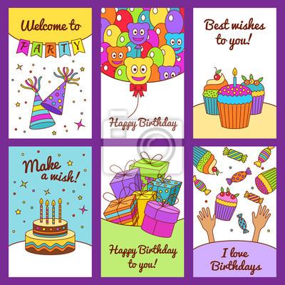 Набор С Днем Рождения поздравительные открытки.