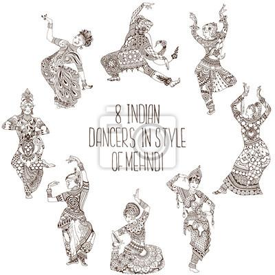 Набор индийских танцев. 8 танцоров в стиле mehendi.