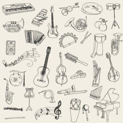 Картина Набор музыкальных инструментов - рисованной в вектор