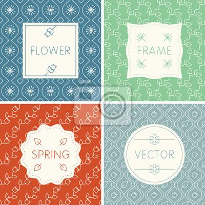 Набор контурных дизайна кадров на бесшовные цветочные фоны