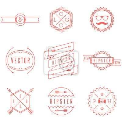 Набор ретро старинные Hipster Логотипы.