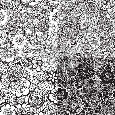 Набор бесшовных шаблонов с абстракцией. Абстрактные украшения в стиле индийского мехди.