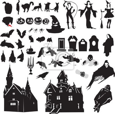 набор силуэтов символизирующих Хэллоуин