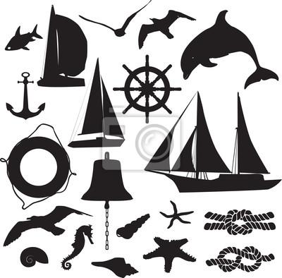 набор силуэтов символизирующих морской отдых