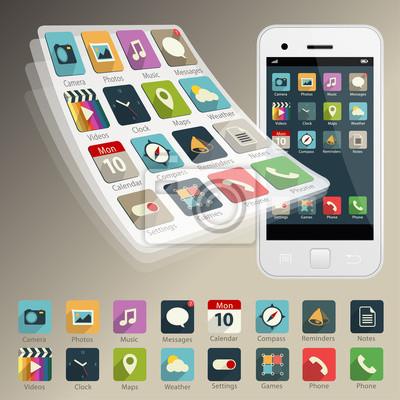 Набор векторных приложений веб-иконы и логотипов на телефон