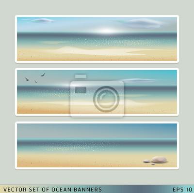 Набор векторных горизонтальный летом пляж, океан баннеров