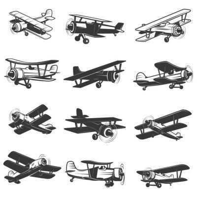 Картина набор старинных самолетов иконок. Самолет иллюстрации. Элемент дизайна для логотипа, этикетки, эмблемы, знака. Векторная иллюстрация.