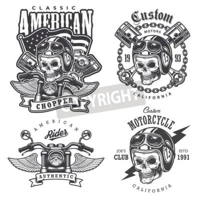 Картина Набор старинных мотоциклов футболки гравюры, эмблемы, этикетки, значки и логотипы. Монохромный стиль. Изолированные на белом фоне