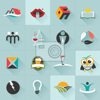 Набор веб-иконы и векторных логотипов в стильных цветах