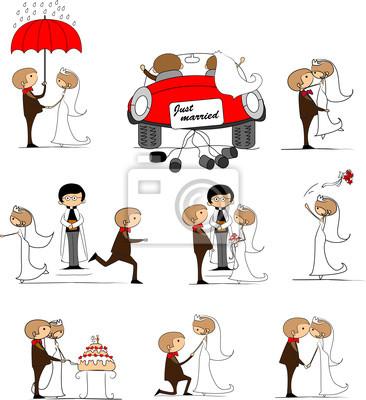 набор свадебных фотографий, жених и невеста в любви, вектора