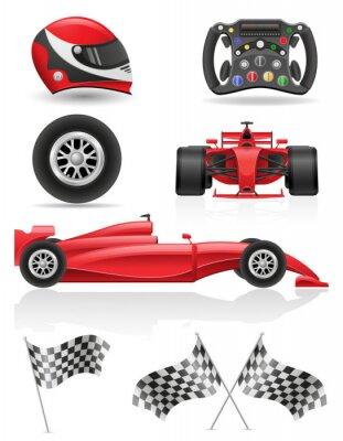 Картина набор гоночных иконы векторная иллюстрация EPS 10