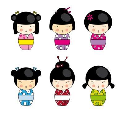 Набор Kokeshi японские куклы, вектор