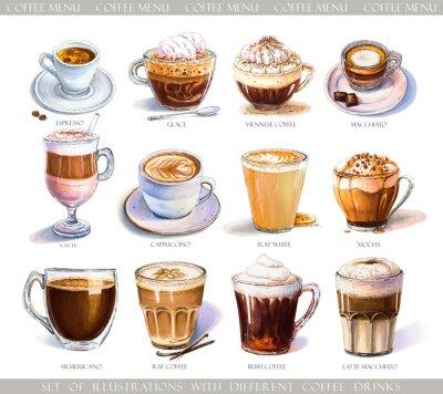 Картина Набор с различными кофейными напитками для меню кафе или кафе. Иллюстрация крепкого эспрессо, нежного латте, сладкого маккиато и капучино, венского кофе и гляссе с мороженым.