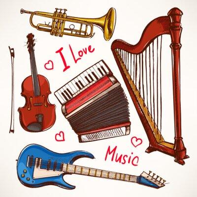 Картина Набор рисованной Музыкальные инструменты