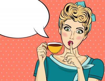 Картина Сексуальная блондинка поп-арт женщина с чашкой кофе