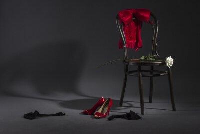 Картина Сексуальное нижнее белье, обувь и белая роза на ретро стул.