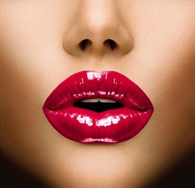 Картина Сексуальные губы. Красивый макияж Крупным планом. Поцелуй