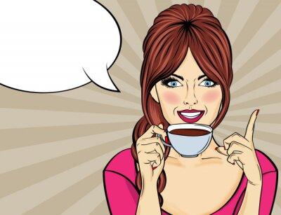 Картина Сексуальная поп-арт женщина с чашкой кофе