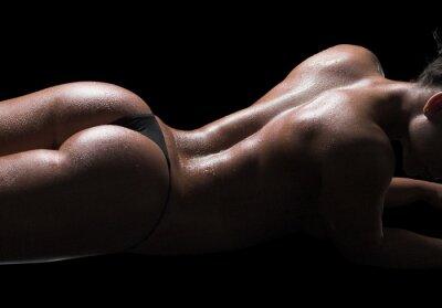 Картина Сексуальная женщина тело, влажную кожу, черный фон