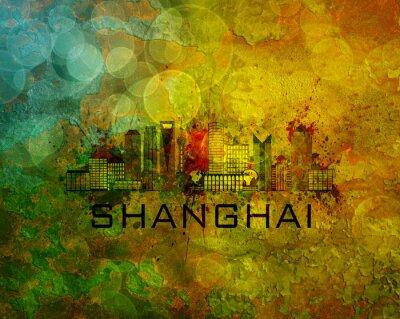 Картина Шанхай горизонты города на фоне гранж Иллюстрация
