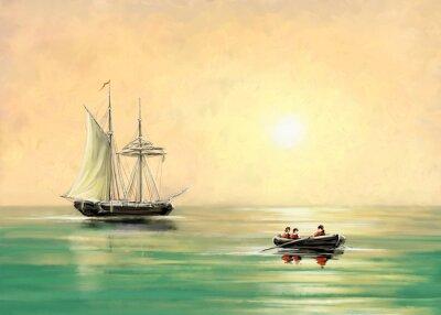 Картина Корабль и лодка, морской пейзаж, масляные цифровые картины