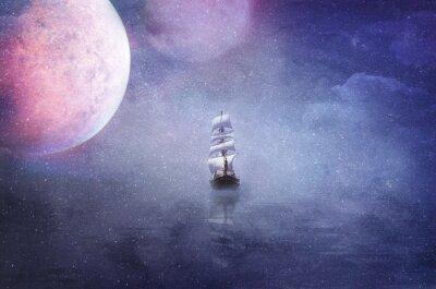 Картина Корабль на просторах вселенной фон иллюстрация