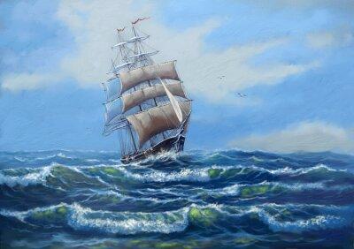 Картина Судно, морской пейзаж с маслом, искусство