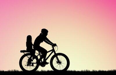 Картина силуэт Мать ездить на велосипеде с дочерью на размытый восход солнца