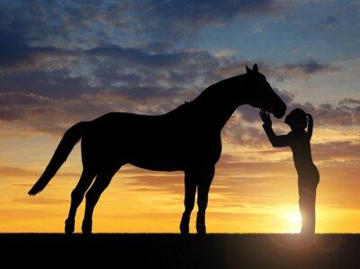 Картина Силуэт девушки давая поцелуй лошадь в закате