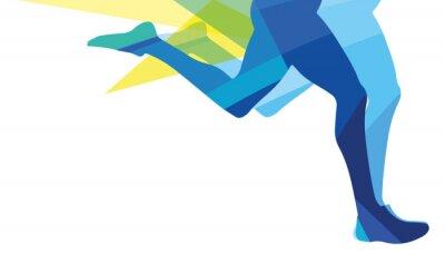 Картина Силуэт человека работает ноги прозрачные накладываемые цвета