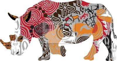 силуэт носорога в этнические узоры